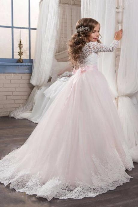 Long Train Lace Long Sleeve Baby Girl Birthday Wedding Party Formal Flower Girls Dress baby Pageant dresses 441