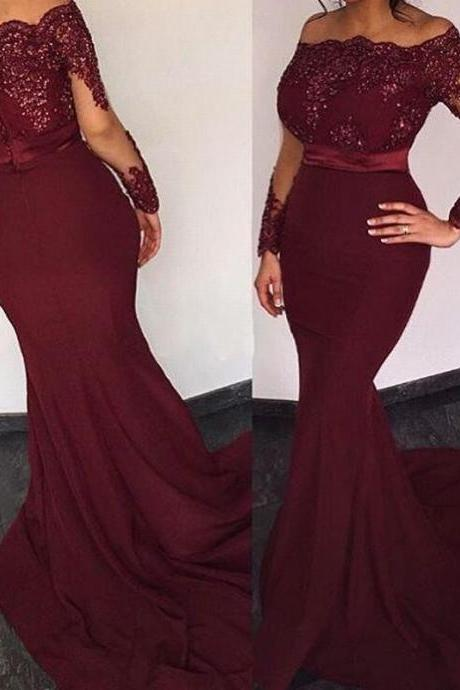 Burgundy Satin Long Sleeves Elie Saab Prom Dresses Off the shoulder Appliques Evening Dresses Long Mermaid Party Dress Long Sexy Prom Dresses Long Sleeves Mermaid Formal Gowns