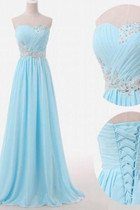Light Blue Prom Dresses Sweetheart Evening Gowns Modest Formal Dresses Beaded Prom Dresses Fashion Evening Gown Corset Evening Dress