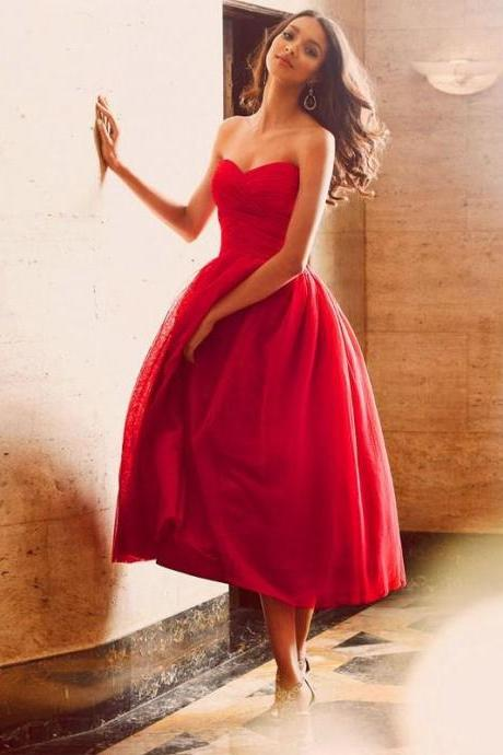 Evening Dress Red Evening Dress Short Evening Dress Tea Length Evening Dress Tulle Evening Dress Dress for evening