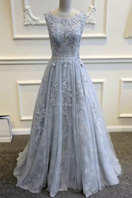 Gray Prom Dress A Line Prom Dress Lace Applique Prom Dress Elegant Prom Dress Simple Prom Dress Cheap Prom Dress Floor Length Prom Dress Prom Dresses Vestido De Longo