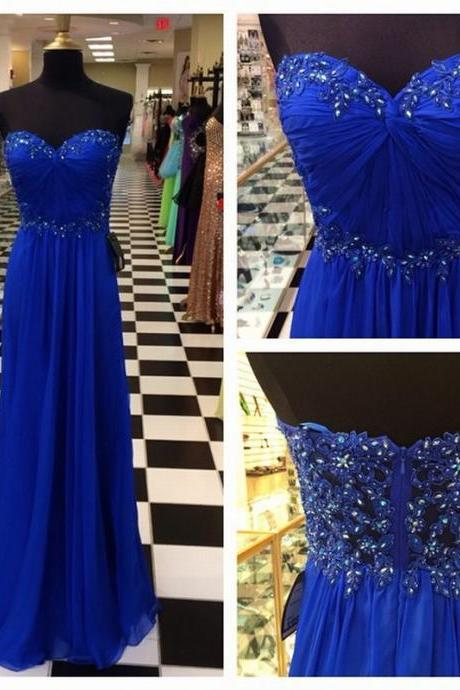 Empire Royal Blue Prom Dress Sweetheart Blue Prom Gown Strapless Royal Blue Graduation Dress Royal Blue Evening Party Dress