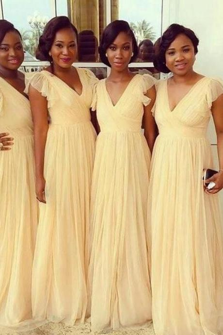 Yellow Bridesmaid Dresses Long Chiffon Evening Dress Prom Dress Bridal Wedding Party Dress