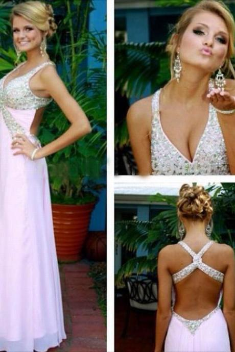 Charming Prom Dress Sexy Prom Dress Beading Prom Dress Long Evening Dress Backless Prom Dress
