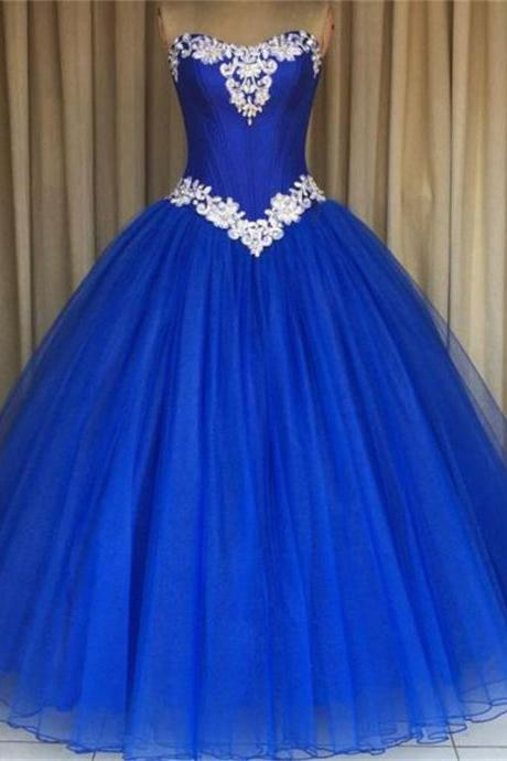 Royal Blue Prom Dress Formal Gowns Strapless Applique Tulle Ball Gown Quinceanera Dresses for Sweet Prom Party Dress