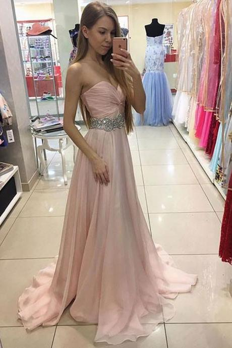 Beaded Pink Sweetheart Prom Dress Chiffon Formal Gown Long Party Dress With Draped Bodice