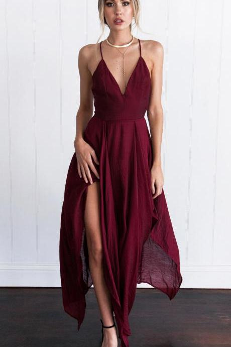 Wine Red Assymetrical hem Long Dress Sexy Prom Dress Cheap Prom Gowns Party Dress Backless Fornal Dress Dress For Prom Hot Sale Evening Dress