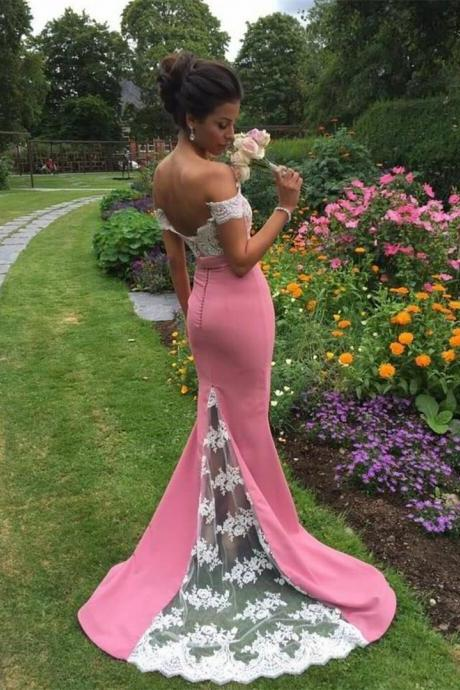 pink bridesmaid dress mermaid prom dress lace appliques evening gowns long bridesmaid dress wedding party dress