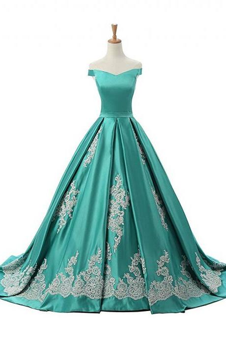 Green Off The Shoulder A Line Prom Dress Princess Prom Gown With Lace Appliques Prom Gowns