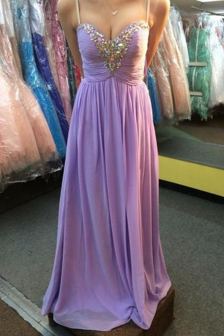 Chiffon Prom Dresses Lilac Evening Dress Sweetheart Prom Dress Beading Prom Dress Sequins Prom Gown Sexy Prom Dress Long Prom Gown Modest Evening Gowns for Teens
