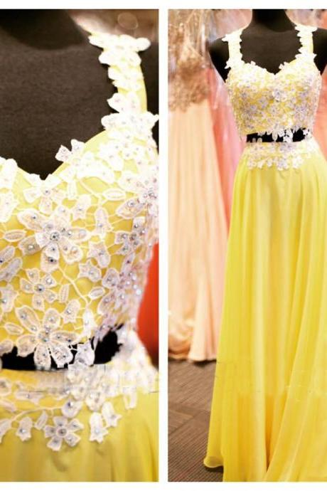 Beaded Prom Dresses Beading Prom Dress Yellow Prom Gown 2 Pieces Prom Gowns Elegant Evening Dress Lace Evening Gowns 2 Piece Evening Gowns New Style Prom Dress
