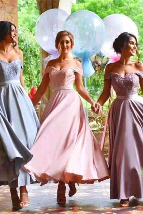 Tea Length Off Shoulder Sexy Bridesmaid Dress Beautiful Custom bridesmaid dress Wedding Party Dresses Long Bridal Gowns