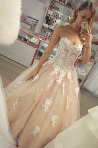 Ball Gown Tulle Prom Dresses Sweetheart Neck Lace Appliques Women Party Dresses