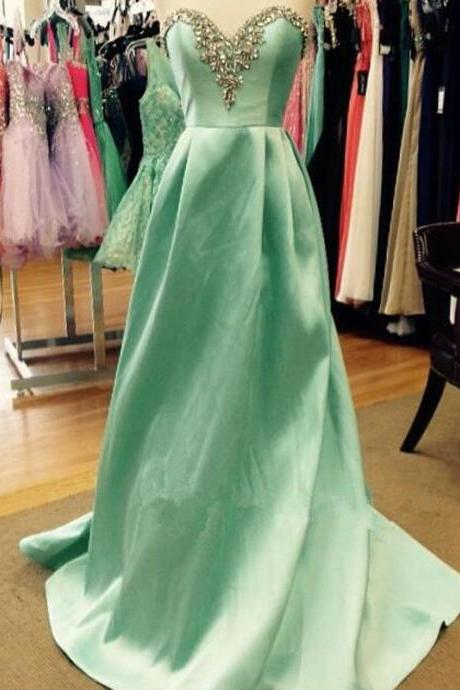 Long Green Satin Prom Dresses Sweetheart Neck Crystals Party