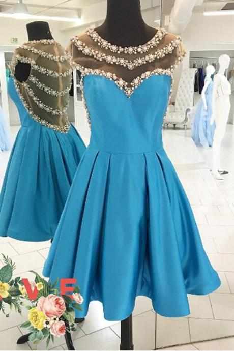 Short Satin Homecoming Dresses Crystals Beaded Lovely Mini party Dresses Custom Made Women Dresses