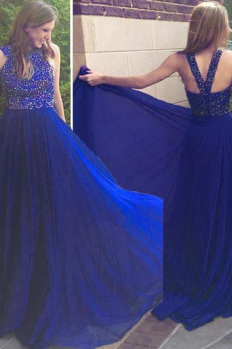 Royal Blue Long Chiffon Prom Dresses Crystals Floor Length Custom Made Party Dresses
