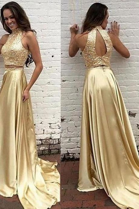 Halter Neck Golden Chiffon Prom Dresses Two Parts Crystals Women party Dresses