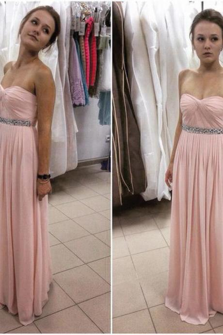 Pink Chiffon prom Dresses Sweetheart Neck Crystals Women party Dresses