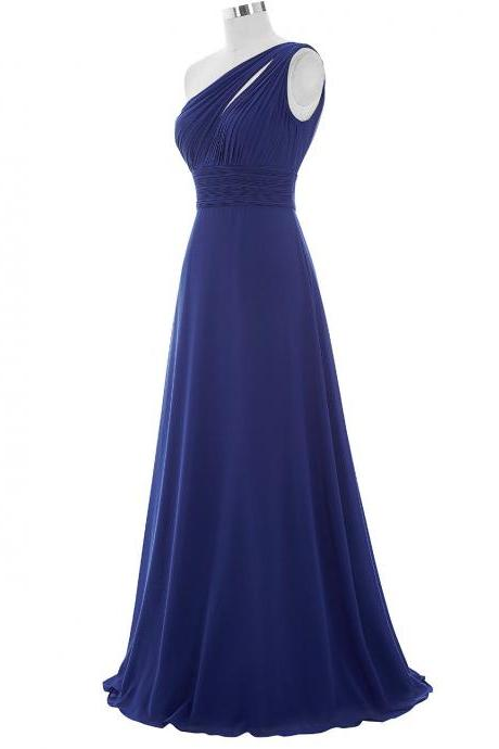 One Shoulder Long Chiffon Dresses Royal blue Women wedding Party Dresses