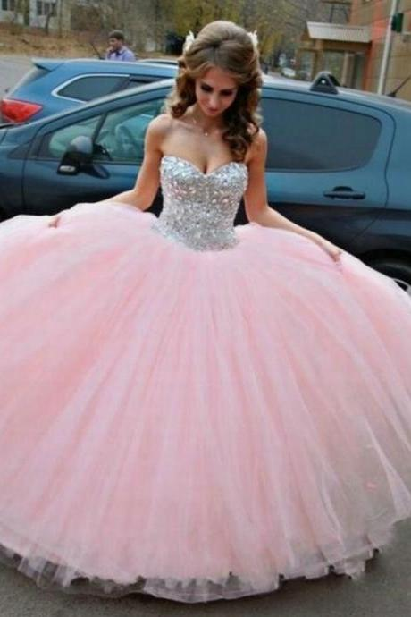Ball Gown Tulle Prom Dress with Crystals Sweetheart Neck Floor Length Party Dresses Custom Made Women Dresses