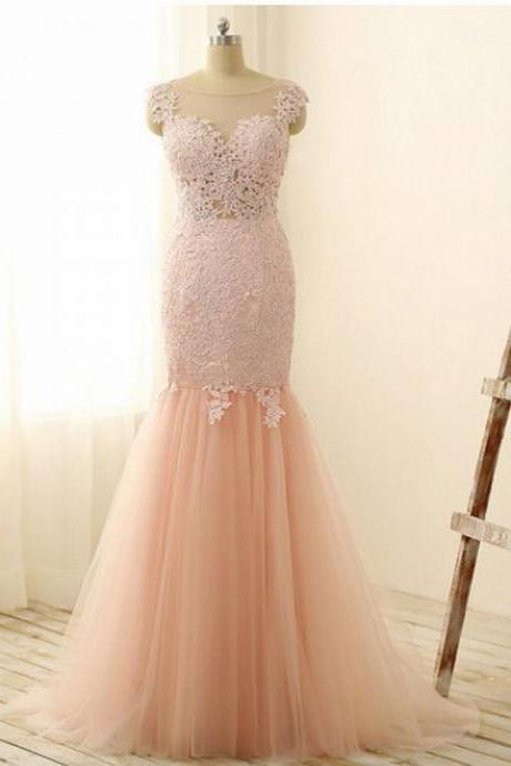 Scoop neck Mermaid Tulle Prom Dresses Lace Appliques Women Party Dresses