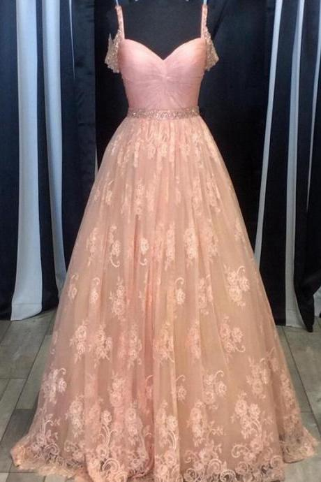 Charming Prom Dress Lace Prom Dress A-Line Prom Dress Spaghetti Straps Evening Dress