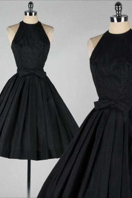 Short Vintage Black Party Dresses Tea Length Evening Homecoming Prom Gowns