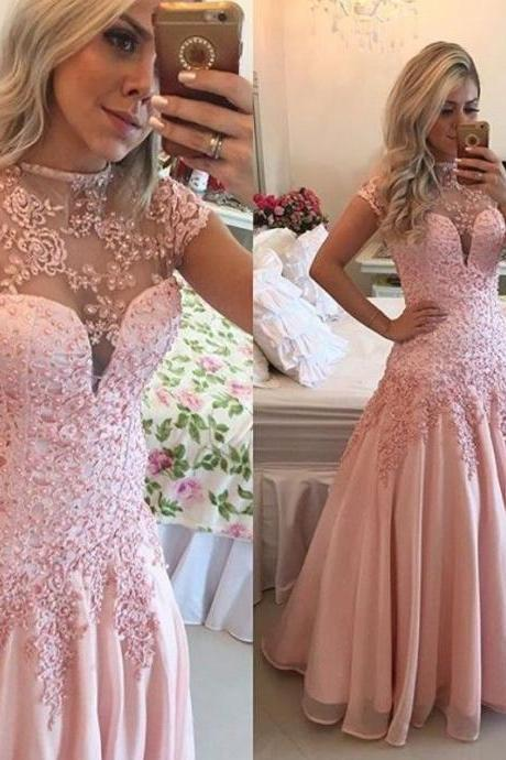 New High Neck Cap Sleeves Pink Prom Dresses Backless Party Pageant Evening Dress