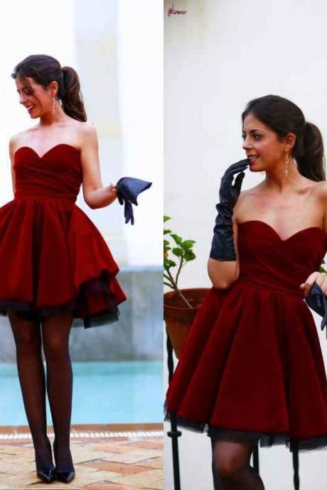 Burgundy Short/Mini Party Cocktail Dresses Velvet Homecoming Prom Evening Gowns