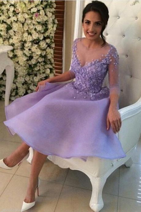 2017 Homecoming Dress Lavender Short Prom Dresses Long Sleeve Party Evening Gown