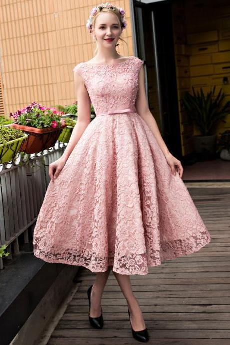 New Tea Length Formal Party Evening Dress Lace Beads Cocktail Prom Pageant Gown