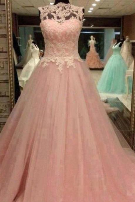 Pink Ball Gown Lace Tulle Pageant Appliques Prom Dress Sweet 16 Quinceanera Gown