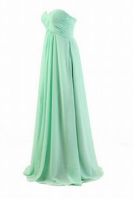 Mint Chiffon Long Handmade Prom Dresses with Beading Mint Prom dresses Simple Prom Dresses Formal Dresses
