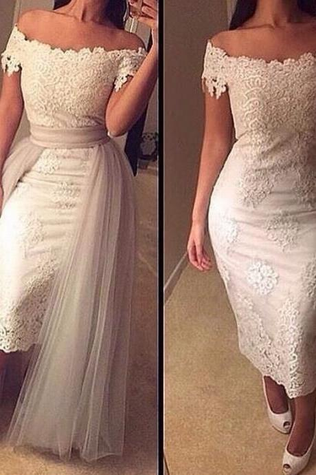New Arrival Off The Shoulder Lace Prom Dress Prom Dress With Removable Tail