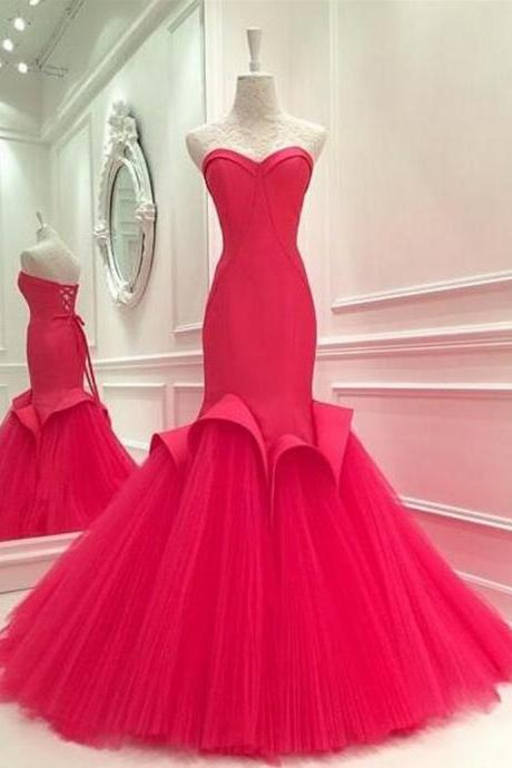 Red Tulle Evening Cocktail Formal Party Bridesmaid Prom Gown Dress