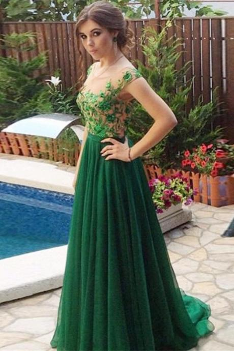 Green Chiffon Prom Dresses Scoop Neck Lace Appliques Women Party Dresses