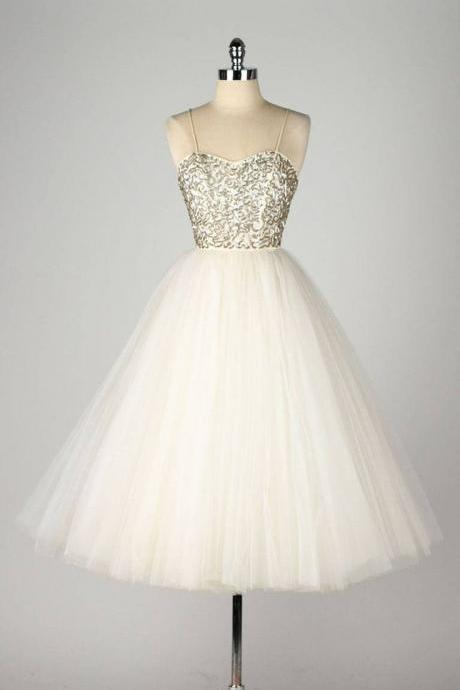 Spaghetti Strap A-line Short Tulle Dress with Sequin Embellishment - Homecoming Dress Prom Dress Formal Dress