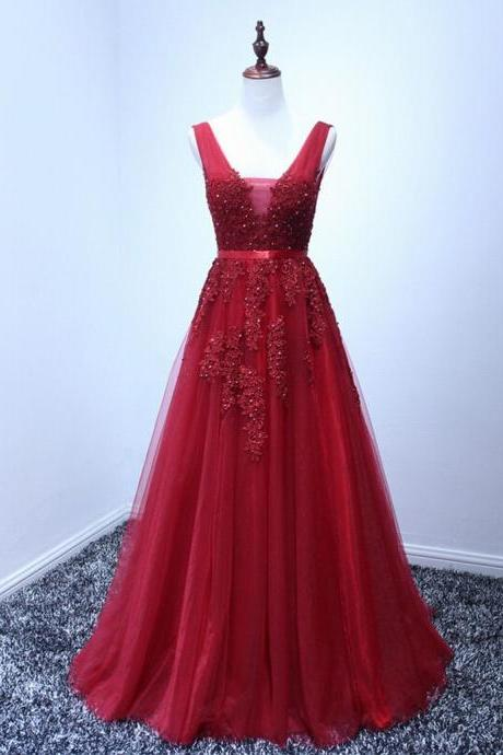 High Quality Prom Dress Tulle Prom Dress Appliques Prom Dress Appliques Prom Dress Charming Prom Dress