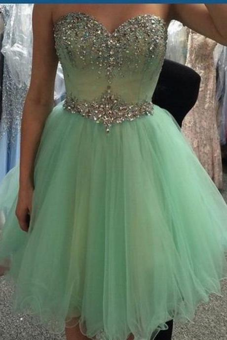 Graduation Dress Short Prom Dress Sweetheart Homecoming Dress Beading Prom Dress
