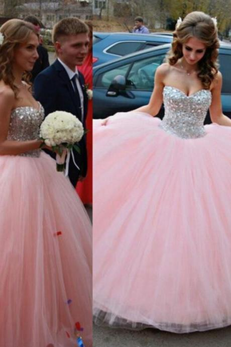Ball Gown Pink Tulle Crystal Prom Dress Sweetheart Prom Dress Beading Prom Dress Ball Gown