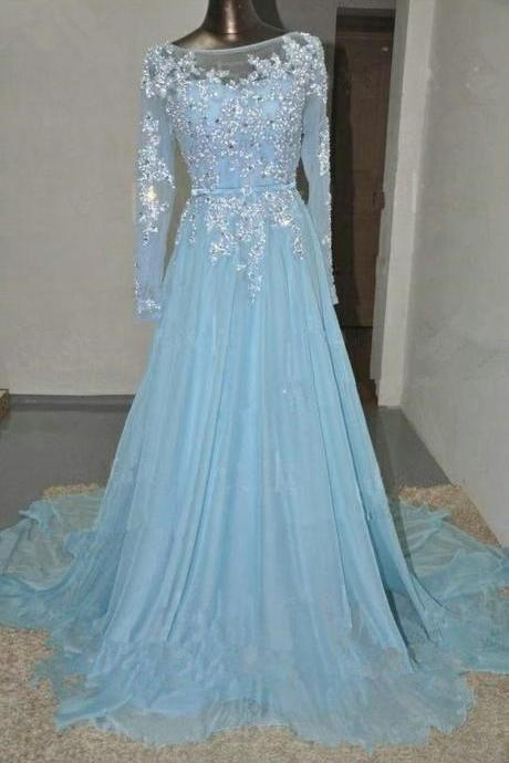Charming Prom Dress Long Sleeve Prom Dress A-Line Prom Dress Appliques Prom Dress Chiffon Prom Dress