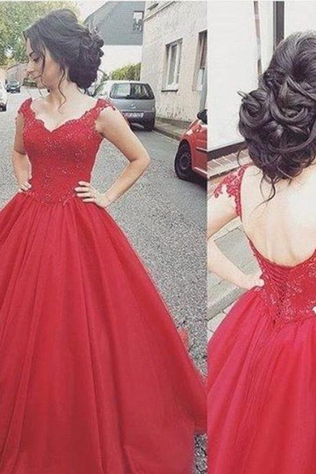 Elegant Long Prom Dresses Red Evening Gowns Ball Gowns Evening Dresses Lace Prom Dresses Cap Sleeve Evening Dresses Floor-Length Evening Dress Applique Prom Gowns Pretty Evening Dress