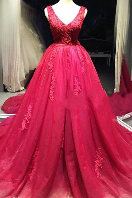 Wedding Gown Red Prom Dress Lace Prom Dress V Neck Prom Dress Prom Dress Evening Dress