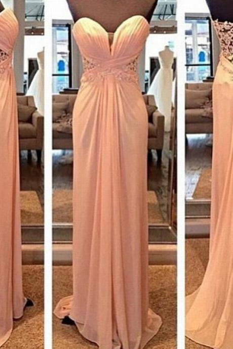 Strapless Sweetheart Lace Appliqués Ruched Floor-Length Prom Dress, Evening Dress