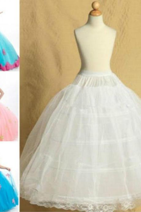 White Pettiskirt Wedding Flower Girl Petticoat Children Underskirt Slips Fit Kid 8~14 Years