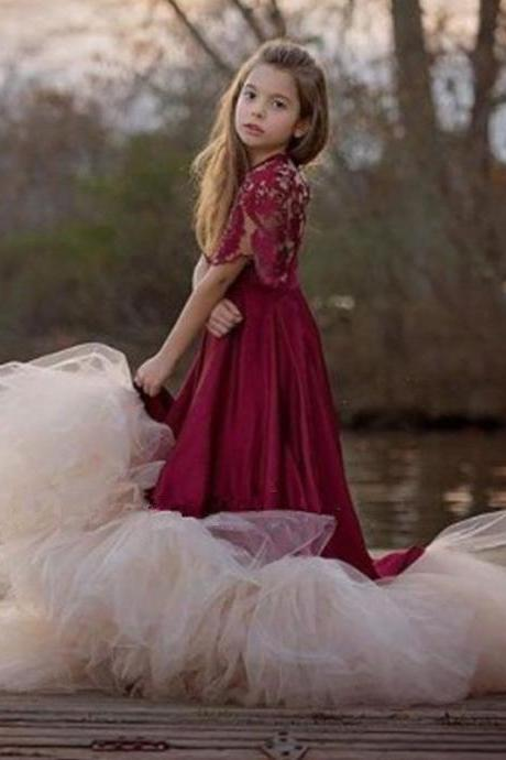 Red Half Sleeve Princess Gown Flower Girl Dresses .Flower Girl Dresses Flower Gril Dresses,Satin Flower Girl Dresses 455