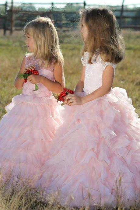 Pink Lace Kids Gown Formal Flower Girl Dresses .Flower Girl Dresses.Flower Gril Dresses,Satin Flower Girl Dresses 468