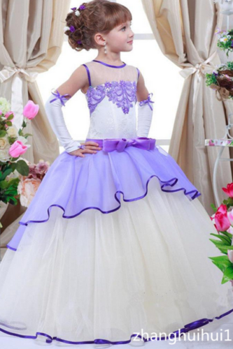 Purple Ball Gown Formal Kids Flower Girl Dresses .Flower Girl Dresses.Flower Gril Dresses,Satin Flower Girl Dresses 472