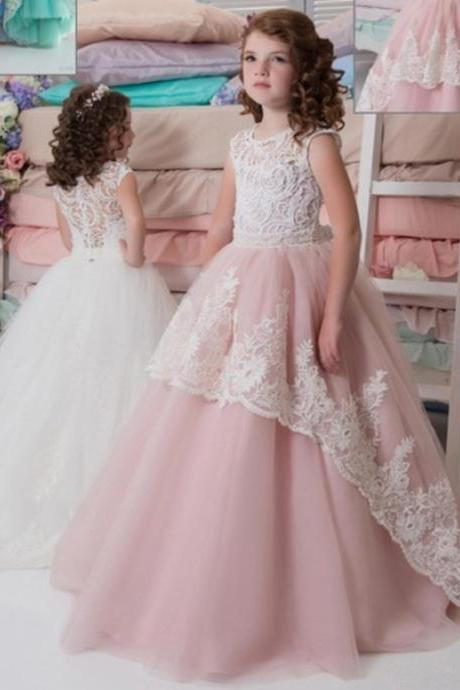 Ball Gown Lace Applique Flower Girl Dresses .Flower Girl Dresses.Flower Gril Dresses,Satin Flower Girl Dresses 475