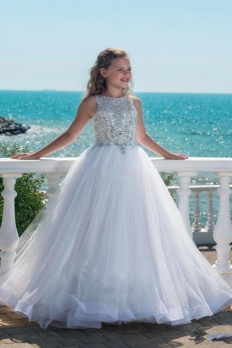Formal Beading Fashion Flower Girl Dresses .Flower Girl Dresses.Flower Gril Dresses,Satin Flower Girl Dresses 487